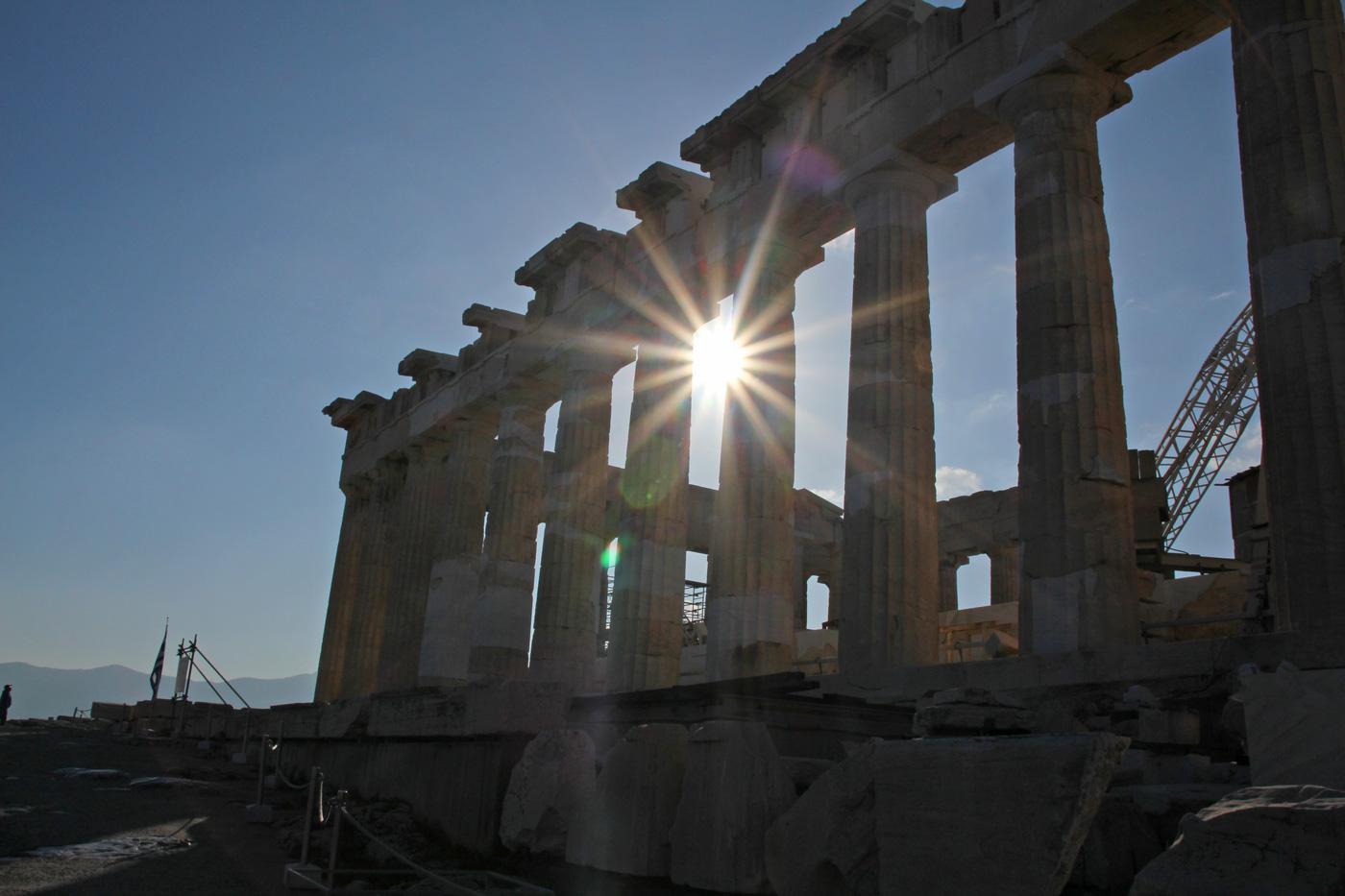 sonne parthenon akropolis